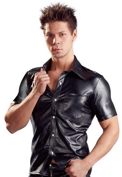 Koszulka - Fake Leather Męska Koszulka M (1)